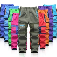 Brand Waterproof Boys Girls Pants Warm Trousers Sporty Climbing Trousers Children Patchwork Soft Shell Outfits For 105-160cm