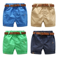 2021 Summer 3-10 Years Cotton Navy Blue Khaki Blue Green Solid Color Children'S Running Sports Boy Shorts Kids With Leather Belt