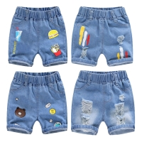 2020 Children Clothing Kids Jeans Summer Shorts Casual Hole Jeans Smiley Cowboy Baby Boy Clothes Cartoon Boys Denim Pants 2-8Y