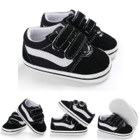 0-18M Lovely Newborn Baby Girl Boy Soft Sole Shoe Anti Slip Canvas Sneaker Trainers Prewalker Black White