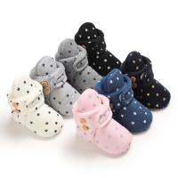 Baby Boy Girl Socks Toddler Shoes Star Print Prewalkers Booties Cotton Winter Soft Anti-slip Warm Newborn Infant Crib Shoes