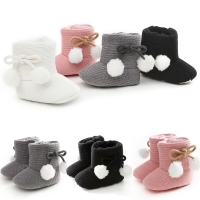 Ma&Baby 0-18M  Newborn Infant Baby Girls Snow Boots Cute Pom Pom Bow Cotton Shoes Autumn Winter  Warm Boots