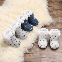 Baby Boy GirlsSocks Toddler Shoes Solid Prewalkers Booties Cotton Winter Soft Anti-slip Warm Newborn Infant Crib Shoes  0-18M