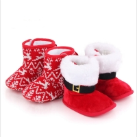 Baby Christmas Boots Lovely Snowflake Santa Design Winter Warm Slippers Anti-Slip Infant Newborn Booties