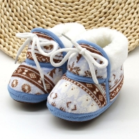 Cute Baby Boots Spring Warm Soft Baby Retro Printing Cotton Padded Infant Baby Boys Girls Soft Boots 6-12M