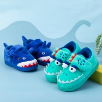 Boys Autumn Winter Slippers Girls Cute Cartoon Dinosaur Home Shoes Children Warm Fur Slipper Kids Unicorn Home Slippers
