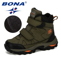 BONA New Popular Style Winter Children's Snow Boots Boys Girls Fashion Waterproof Warm Shoes Kids Thick Mid Non-Slip Boots
