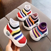 Boys Tennis Shoes Sneakers Girls Rainbow Shoes Mesh Kids Footwear Toddler Stripes Chaussure Zapato Casual SandQ Baby New