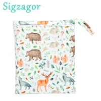 [Sigzagor]Wet Dry Bag With Two Zippered For Baby Diapers Nappies Waterproof Reusable 36cmx29cm