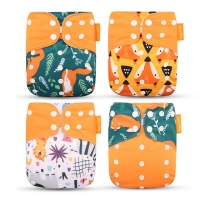 Happyflute 2021 New Fashion Style Baby Nappy 4pcs/set Diaper Cover waterproof & Reusable cloth diaper