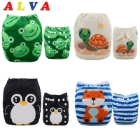 ALVABABY 4pcs/set Cloth Diapers Baby Shells Adjustable Reusable Baby Cloth Nappy Shells Without Insert