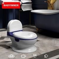 Babyinner Portable Baby Toilet Soft PU Cushion Infant Potty Household Simulation Toilet Bowl PP Material Toddler Toilet 1-8Y