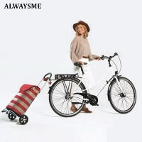ALWAYSME Bike Commuter Cargo Shopping Cart Alum Frame With Bag Strap And Handle,Bike Trailer Attachments Need Buy Separately