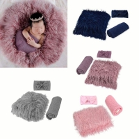 3PCS Newborn Photography Props Toddler Photo Blankets Wrap and Headband Long Ripple Wrap Photo Prop