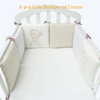 6 Pcs/Set Children Infant Crib Bumper Bed Protector Baby Kids Cotton Cot Nursery for Bear Bumper Boy And Girl Bedding Plush