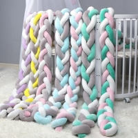 QWZ 1M/2M/3M Length Nodic Knot Newborn Bumper Long Knotted Braid Pillow Baby Bed Bumper in the Crib Infant Room Decor