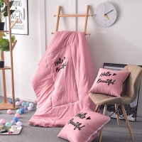 Letter Embroidery Multifunctional Washed Cotton Embroidery Pillow Quilt Dual-purpose Car Sofa Cushion Air Conditioner Quilt