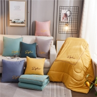 Light Luxury Style Three-dimensional Embroidered Pillow Quilt Dual-use Car Cushion By Office Pillow Can Be Folded Home Cushion