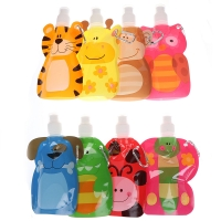 1pcs 380ml Cartoon Reusable Food Pouch Baby Packaging Reusable Squeeze Pouch Plastic Smoothie Squeeze Bags Refillable Lock Bag