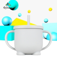 Qshare 200ml Baby Drinking Cup Silicone Leakproof Water Feeding Training Tumbler with Easy-Grip Handles