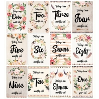 12 Sheet Baby Milestone Cards Newborn Monthly Memorial Growth Record Photo Cards Photo Sharing Cards Infant Baby Photo Landmark
