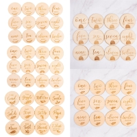 12 Pcs Wooden Baby Milestone Cards Commemorate Baby Birth Monthly Recording Cards Newborn Infant Shower Gifts Photography Props