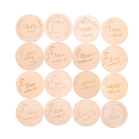 4/8/16PCS baby commemorative milestone wood chip photography props DIY props newborn gift lettering commemorative coin