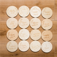 Baby Milestone Card Wooden Baby Birth Month Recordding Number Commemorative Baby Milestone Wood Clip DIY Photography Pro Tool