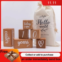 6pcs/1Set Baby Month Milestone Card Beech Block Square Engraved Newborn Birth Month Birthday Milestones Block Photography Props