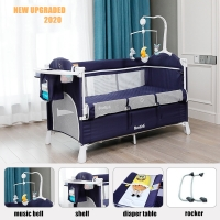 Brotish Crib Splicing Large Bed Removable BB Multi-Function Portable Folding Newborn Baby Bedside Bed Cradle Play Yard Bed