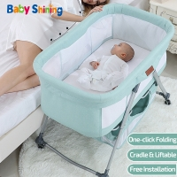 Baby Shining Cradle Crib Newborn Bed Match with Large Bed Baby Shaker Bassinet Multi-Function Mobile Foldable with Mosquito Net