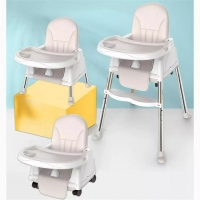 3-in-1 Multi-function Baby Dining Chair Foldable Portable Baby Chair Seat without Cushion