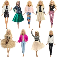 NK 2020 Newest Doll Dress Fashion Casual Wear Handmade Girl  Clothes For Barbie Doll Accessories  DIY Toys Baby Doll  G1 JJ