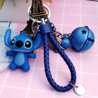 12 Styles New Arrival Cartoon Lilo and Stitch Keychain LED Stitch Key Ring Sound Flash Rope Bell Backpack Pandent Gifts