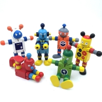 Novelty Wooden Robot Toy Learning Transformation Colorful Wooden toy for kid Present Joint Moved Deformation Robot Toys