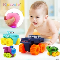 5PCS Soft Rubber Car Boy Toys Girl Animals Vehicles Push and Back Wheels Car Water Bath Toys For Children Kids Toddler Crawl Toy