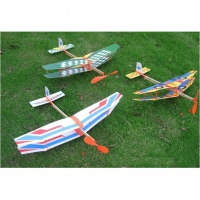 1PCS New Rubber Band Powered Glider Biplane Assemble Aircraft Plane Model For Kids Education 50*43cm
