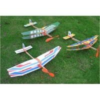 1Pc Rubber Band Powered Glider Biplane Assemble Aircraft Plane Model For Kids Education 50*43cm