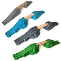 Mine track bridge with wooden train and track compatible with multiple combinations BRIO track series toy accessories