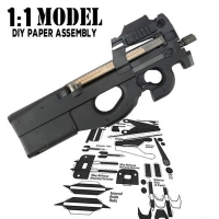 1:1 Crazy P90 Toy Gun Model Paper Assembled Educational Toy Building Construction Toys Card Model Building Sets