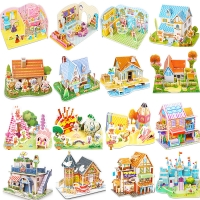 Attractive Cartoon Castle Garden Zoo Princess House 3D Puzzle Jigsaw Paper Model Learning Educational Toys For Children Kid Gift