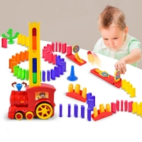 Automatic Domino Brick Laying Toy Train Motorized Rack blocks up car Catapult set Parent-child interactive Ceative toy Gift kids