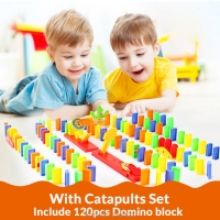 Colorful 120pcs Domino Blocks Elevator Springboard Bridge Catapult dominoes Set manipulative ability Gift toys for children Kids