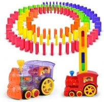 New Automatic placement Domino Electric Train With Light Sound Model Toy Educational Building Blocks DIY Plastic Toy Set 100 pcs
