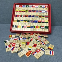 Children Country Flags Wooden Domino Blocks Educational Toy/Kids Wooden National Flag Dominoes Block Set Early learning 100 pcs