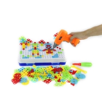 240pcs Children Electric Drill Plastic Kids Children Drill Puzzle Educational Toys Screw Group Tool Kits Jigsaw Building Toy