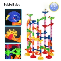 Baby Educational 29/80/105pcs Set DIY Construction Marble Race Run Maze Track Building Blocks Kids Ball Roll Toys Christmas Gift