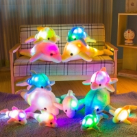 1pc 32cm Cute Creative Luminous Plush Toy Dolphin Doll Glowing LED Light Animal Toys Colorful Doll Pillow Children's Lovely Gift