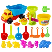 21PCS Kids Beach Bucket Shovel Rake Hourglass Spoon Building Molds Castle Build Model Sand Clay Mold Sand Water Playing Tool Toy