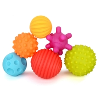 Infant Multi-Texture  Ball Play Water Baby Soft Touch Training Massage Ball Early Education Toy Touch Hand Grab Rubber  6pcs Kid